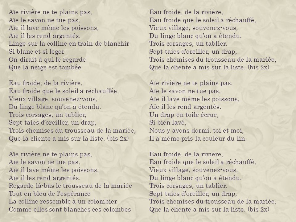 TRADUCTION DES PAROLES DE LA CHANSON EN FRANÇAIS ET EN ANGLAIS Traduction faite par les élèves de la 9e B Text translated by students of the class 9e