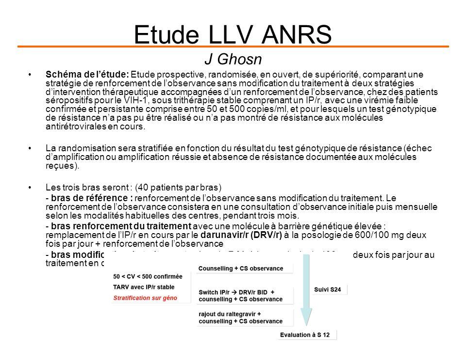 Etude LLV ANRS J Ghosn Schéma de létude: Etude prospective, randomisée, en ouvert, de supériorité, comparant une stratégie de renforcement de lobservance sans modification du traitement à deux stratégies dintervention thérapeutique accompagnées dun renforcement de lobservance, chez des patients séropositifs pour le VIH-1, sous trithérapie stable comprenant un IP/r, avec une virémie faible confirmée et persistante comprise entre 50 et 500 copies/ml, et pour lesquels un test génotypique de résistance na pas pu être réalisé ou na pas montré de résistance aux molécules antirétrovirales en cours.