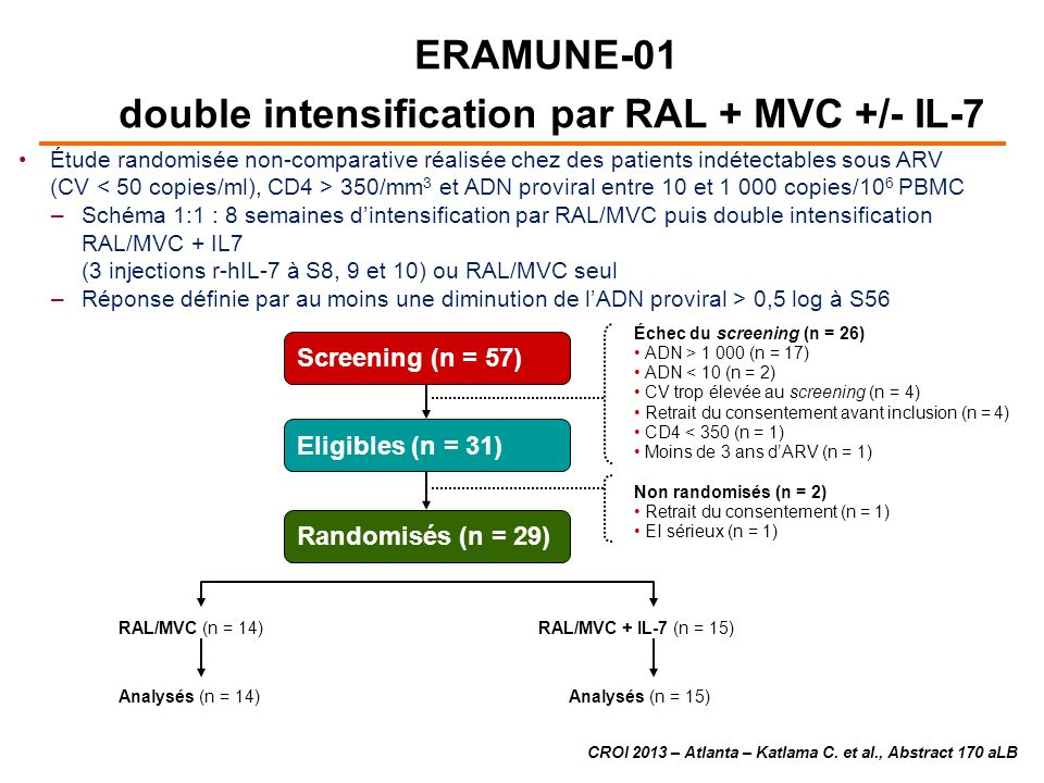 Échec du screening (n = 26) ADN > 1 000 (n = 17) ADN < 10 (n = 2) CV trop élevée au screening (n = 4) Retrait du consentement avant inclusion (n = 4) CD4 < 350 (n = 1) Moins de 3 ans dARV (n = 1) Non randomisés (n = 2) Retrait du consentement (n = 1) EI sérieux (n = 1) RAL/MVC (n = 14) Analysés (n = 14) RAL/MVC + IL-7 (n = 15) Analysés (n = 15) ERAMUNE-01 double intensification par RAL + MVC +/- IL-7 CROI 2013 – Atlanta – Katlama C.