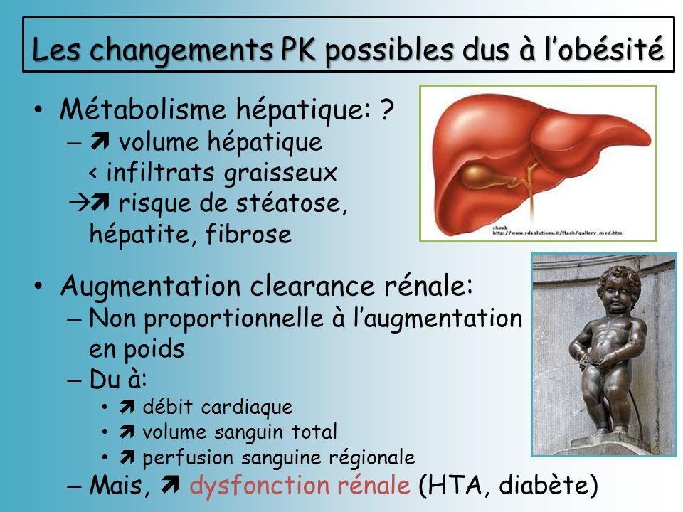 Métabolisme hépatique: ? – volume hépatique < infiltrats graisseux risque de stéatose, hépatite, fibrose Augmentation clearance rénale: – Non proporti