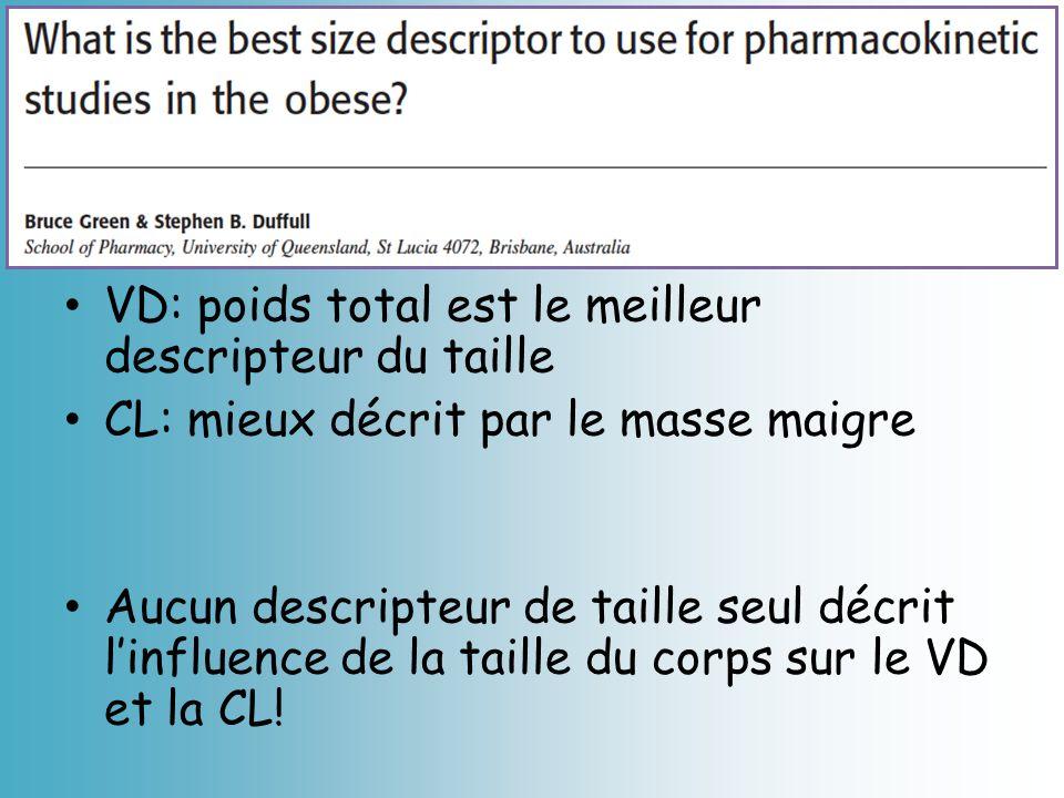 VD: poids total est le meilleur descripteur du taille CL: mieux décrit par le masse maigre Aucun descripteur de taille seul décrit linfluence de la ta