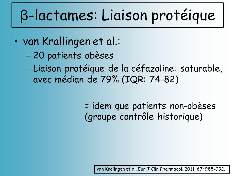 van Krallingen et al.: – 20 patients obèses – Liaison protéique de la céfazoline: saturable, avec médian de 79% (IQR: 74-82) = idem que patients non-o