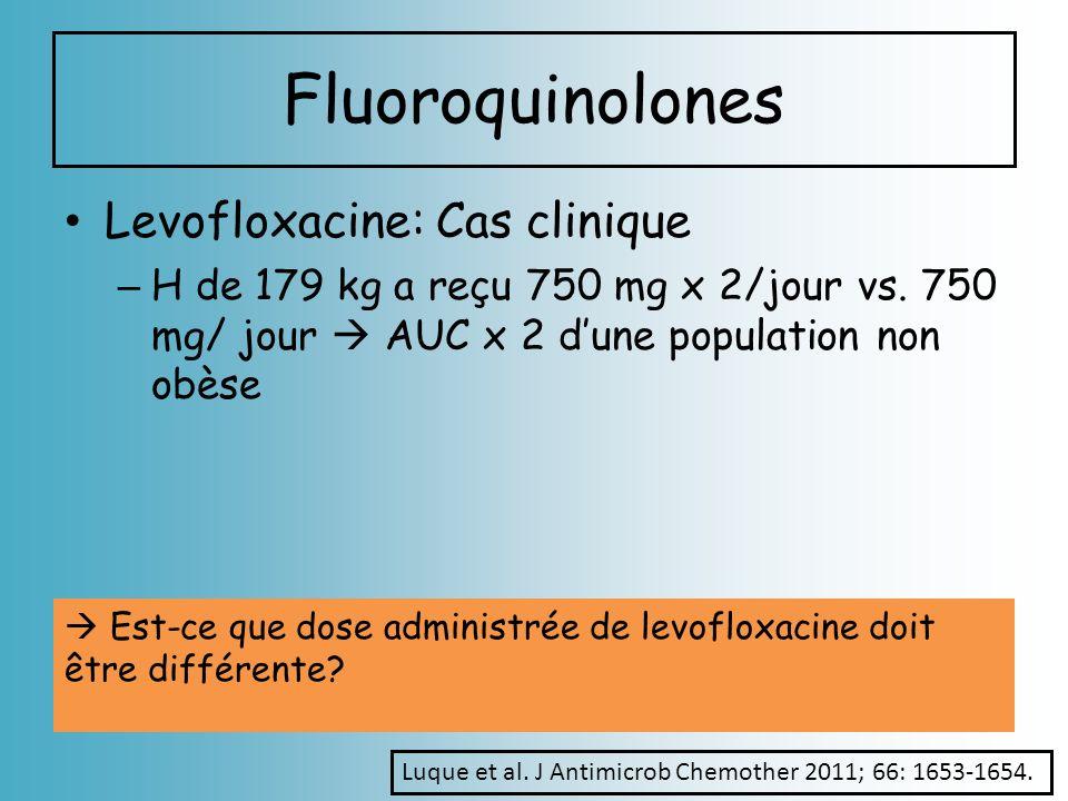 Fluoroquinolones Levofloxacine: Cas clinique – H de 179 kg a reçu 750 mg x 2/jour vs. 750 mg/ jour AUC x 2 dune population non obèse Est-ce que dose a