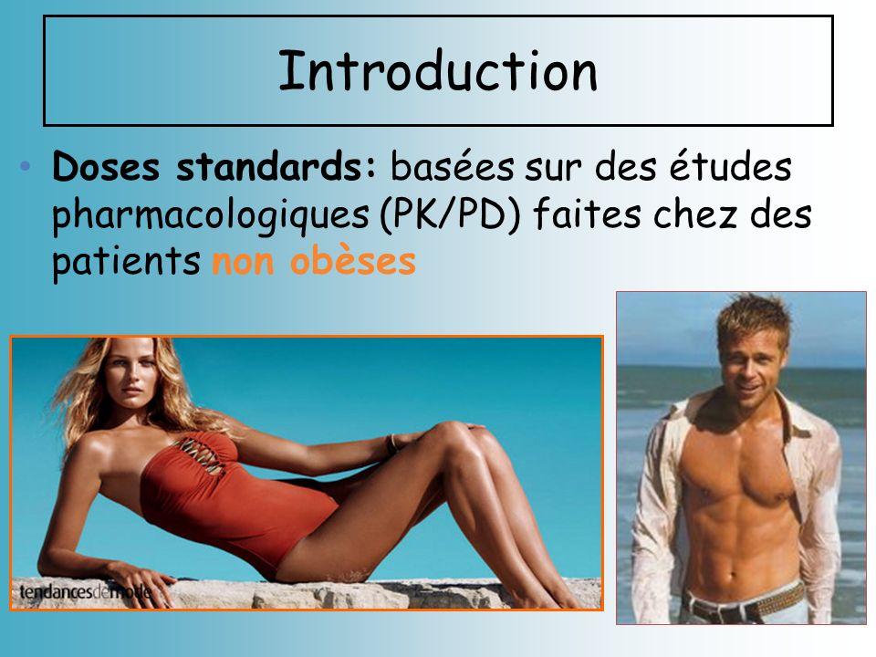 Introduction Doses standards: basées sur des études pharmacologiques (PK/PD) faites chez des patients non obèses
