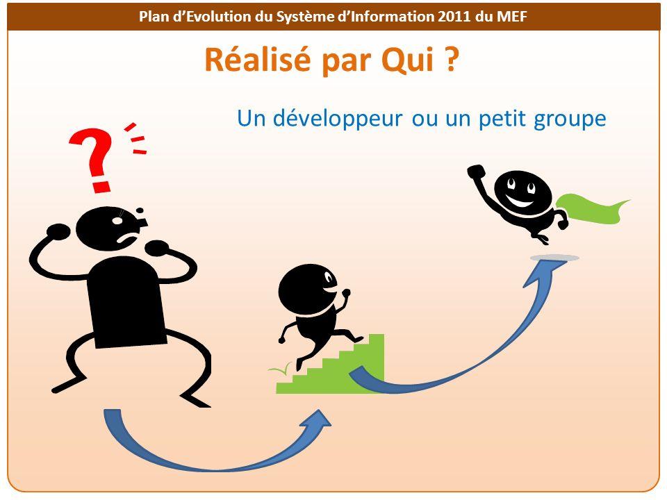 Plan dEvolution du Système dInformation 2011 du MEF Réalisé par Qui ? Un développeur ou un petit groupe