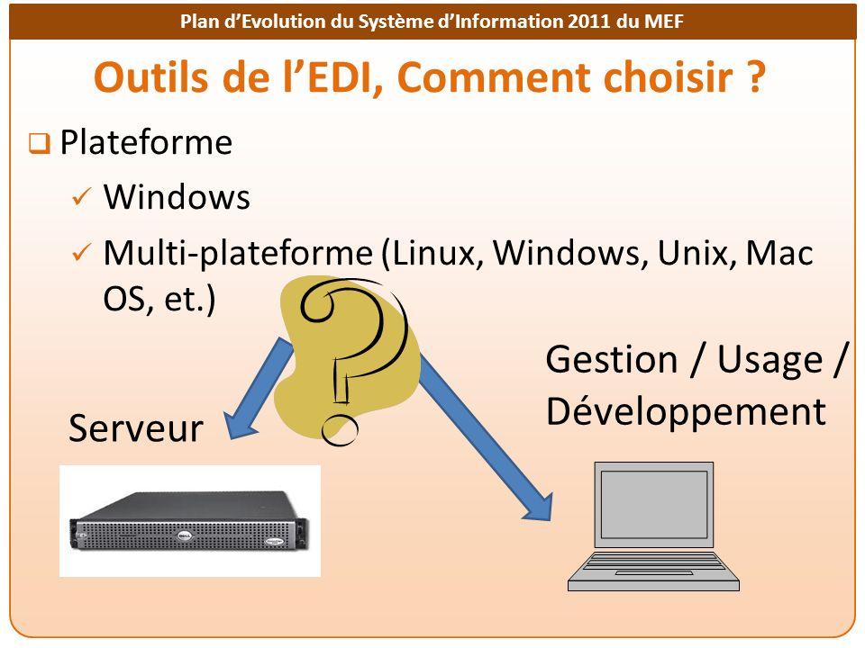 Plan dEvolution du Système dInformation 2011 du MEF Outils de lEDI, Comment choisir ? Plateforme Windows Multi-plateforme (Linux, Windows, Unix, Mac O