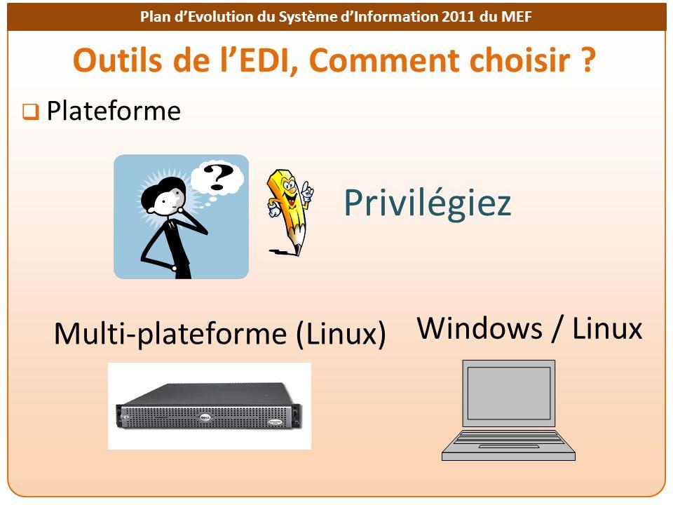 Plan dEvolution du Système dInformation 2011 du MEF Outils de lEDI, Comment choisir ? Plateforme Multi-plateforme (Linux) Windows / Linux Privilégiez