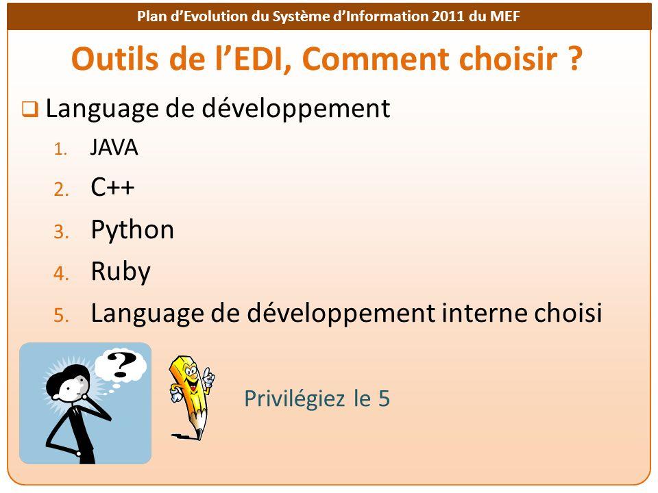 Plan dEvolution du Système dInformation 2011 du MEF Outils de lEDI, Comment choisir ? Language de développement 1. JAVA 2. C++ 3. Python 4. Ruby 5. La
