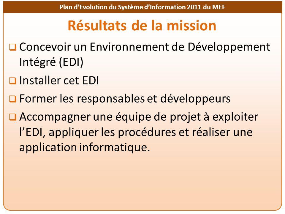 Plan dEvolution du Système dInformation 2011 du MEF Résultats de la mission Concevoir un Environnement de Développement Intégré (EDI) Installer cet ED