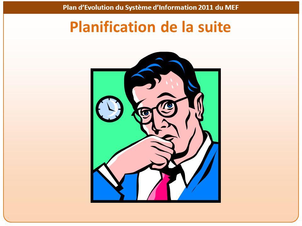 Plan dEvolution du Système dInformation 2011 du MEF Planification de la suite