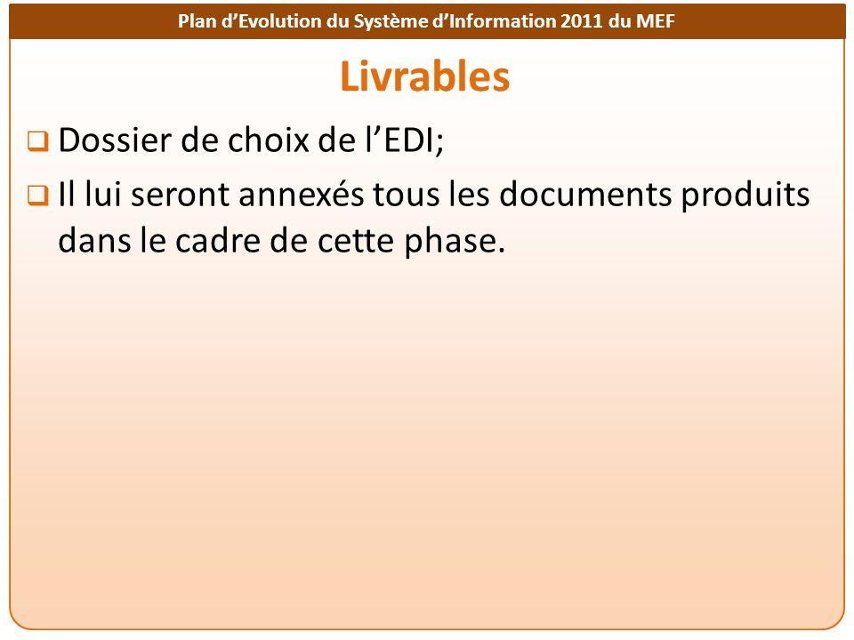 Plan dEvolution du Système dInformation 2011 du MEF Livrables Dossier de choix de lEDI; Il lui seront annexés tous les documents produits dans le cadre de cette phase.