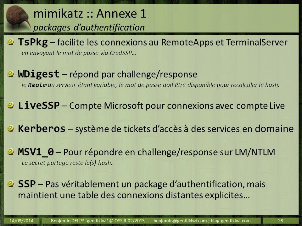 mimikatz :: Annexe 1 packages dauthentification TsPkg – facilite les connexions au RemoteApps et TerminalServer en envoyant le mot de passe via CredSS
