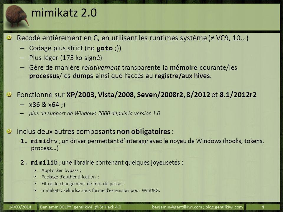 mimikatz :: kerberos « Kerberos est un protocole d authentification réseau qui repose sur un mécanisme de clés secrètes (chiffrement symétrique) et l utilisation de tickets » – http://fr.wikipedia.org/wiki/Kerberos_%28protocole%29 http://fr.wikipedia.org/wiki/Kerberos_%28protocole%29 Deux sortes de tickets : – TGT : représentant lutilisateur auprès du domaine – TGS : représentant lutilisateur auprès dun service sur un nœud Quelques ressources bien plus précises que moi : – http://technet.microsoft.com/library/bb742516.aspx http://technet.microsoft.com/library/bb742516.aspx – http://www.ietf.org/rfc/rfc4120.txt http://www.ietf.org/rfc/rfc4120.txt – http://msdn.microsoft.com/library/windows/desktop/aa 378170.aspx http://msdn.microsoft.com/library/windows/desktop/aa 378170.aspx – http://msdn.microsoft.com/library/cc237917.aspx http://msdn.microsoft.com/library/cc237917.aspx « Kerberos est un protocole d authentification réseau qui repose sur un mécanisme de clés secrètes (chiffrement symétrique) et l utilisation de tickets » – http://fr.wikipedia.org/wiki/Kerberos_%28protocole%29 http://fr.wikipedia.org/wiki/Kerberos_%28protocole%29 Deux sortes de tickets : – TGT : représentant lutilisateur auprès du domaine – TGS : représentant lutilisateur auprès dun service sur un nœud Quelques ressources bien plus précises que moi : – http://technet.microsoft.com/library/bb742516.aspx http://technet.microsoft.com/library/bb742516.aspx – http://www.ietf.org/rfc/rfc4120.txt http://www.ietf.org/rfc/rfc4120.txt – http://msdn.microsoft.com/library/windows/desktop/aa 378170.aspx http://msdn.microsoft.com/library/windows/desktop/aa 378170.aspx – http://msdn.microsoft.com/library/cc237917.aspx http://msdn.microsoft.com/library/cc237917.aspx 14/03/2014Benjamin DELPY `gentilkiwi` @ StHack 4.0benjamin@gentilkiwi.com ; blog.gentilkiwi.com15