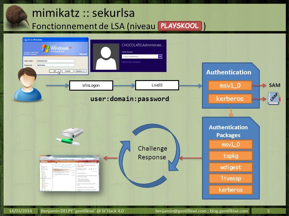 mimikatz :: sekurlsa Fonctionnement de LSA (niveau ) Les packages dauthentification : – prennent les credentials de lutilisateur ; – font à leur sauce (calcul de hash, négociation de ticket…) ; – gardent en mémoire assez de données pour calculer les réponses aux challenges (Single Sign On).