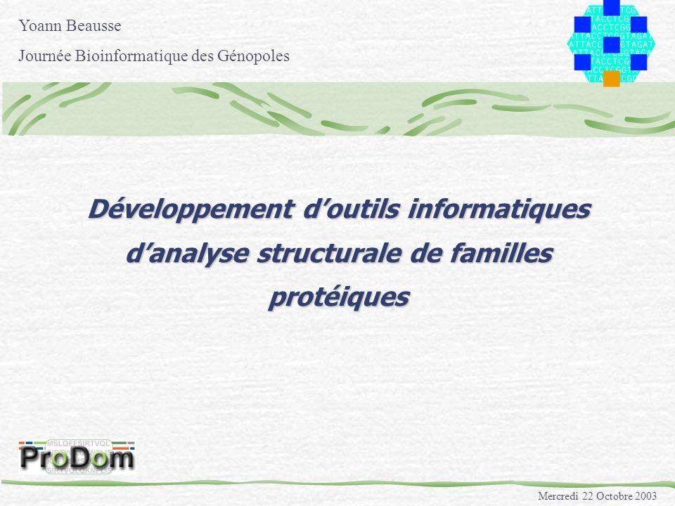 Mercredi 22 Octobre 2003 Développement doutils informatiques danalyse structurale de familles protéiques Yoann Beausse Journée Bioinformatique des Gén