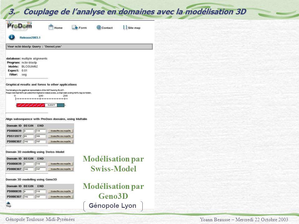 Yoann Beausse – Mercredi 22 Octobre 2003 Génopole Toulouse Midi-Pyrénées 3.Couplage de lanalyse en domaines avec la modélisation 3D Modélisation par G