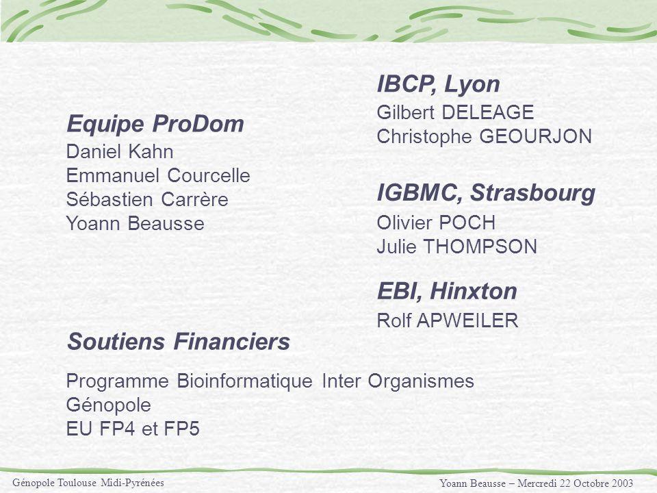 Yoann Beausse – Mercredi 22 Octobre 2003 Génopole Toulouse Midi-Pyrénées Programme Bioinformatique Inter Organismes Génopole EU FP4 et FP5 Daniel Kahn