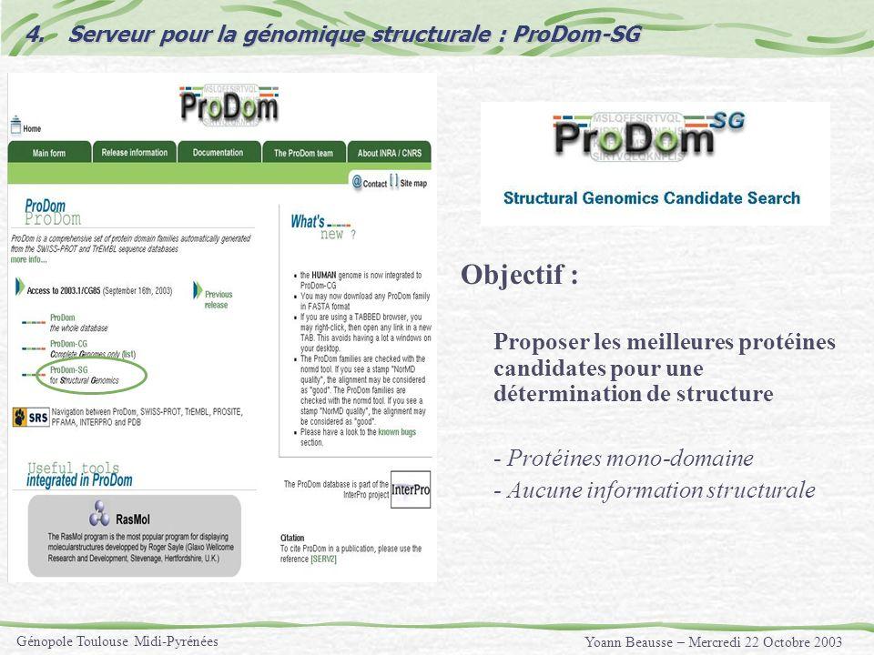 Yoann Beausse – Mercredi 22 Octobre 2003 Génopole Toulouse Midi-Pyrénées 4.Serveur pour la génomique structurale : ProDom-SG Objectif : Proposer les m