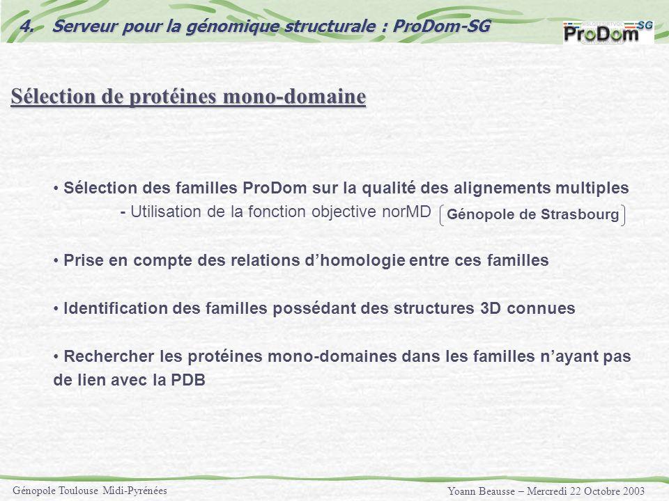 Yoann Beausse – Mercredi 22 Octobre 2003 Génopole Toulouse Midi-Pyrénées Sélection de protéines mono-domaine Sélection des familles ProDom sur la qual