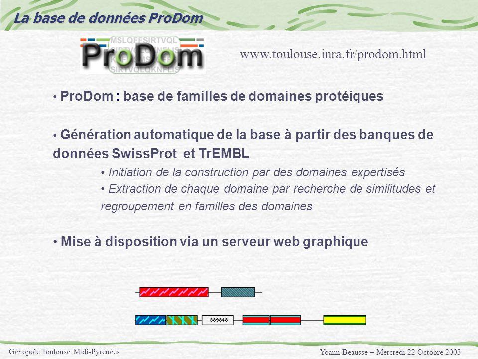 Yoann Beausse – Mercredi 22 Octobre 2003 Génopole Toulouse Midi-Pyrénées La base de données ProDom ProDom : base de familles de domaines protéiques Gé