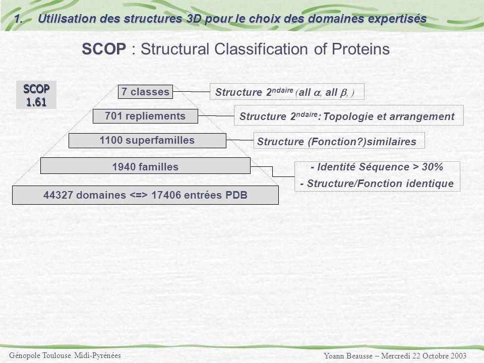 Yoann Beausse – Mercredi 22 Octobre 2003 Génopole Toulouse Midi-Pyrénées 1940 familles - Identité Séquence > 30% - Structure/Fonction identique Struct