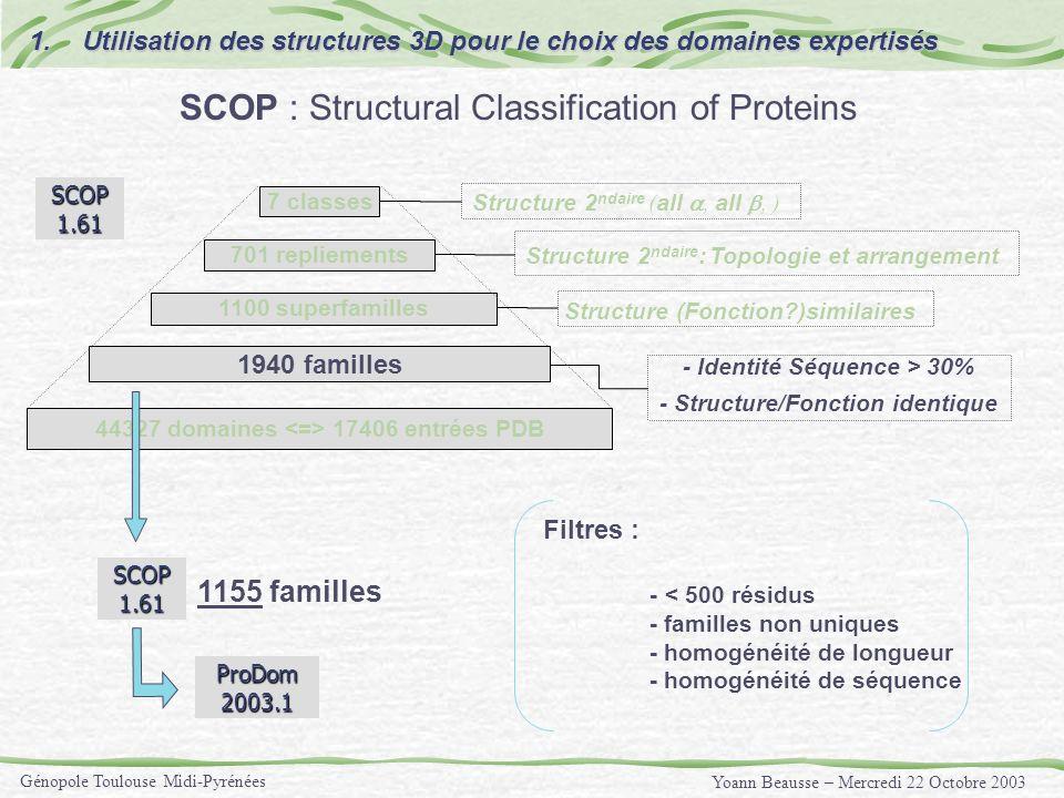 Yoann Beausse – Mercredi 22 Octobre 2003 Génopole Toulouse Midi-Pyrénées Filtres : - < 500 résidus - familles non uniques - homogénéité de longueur -