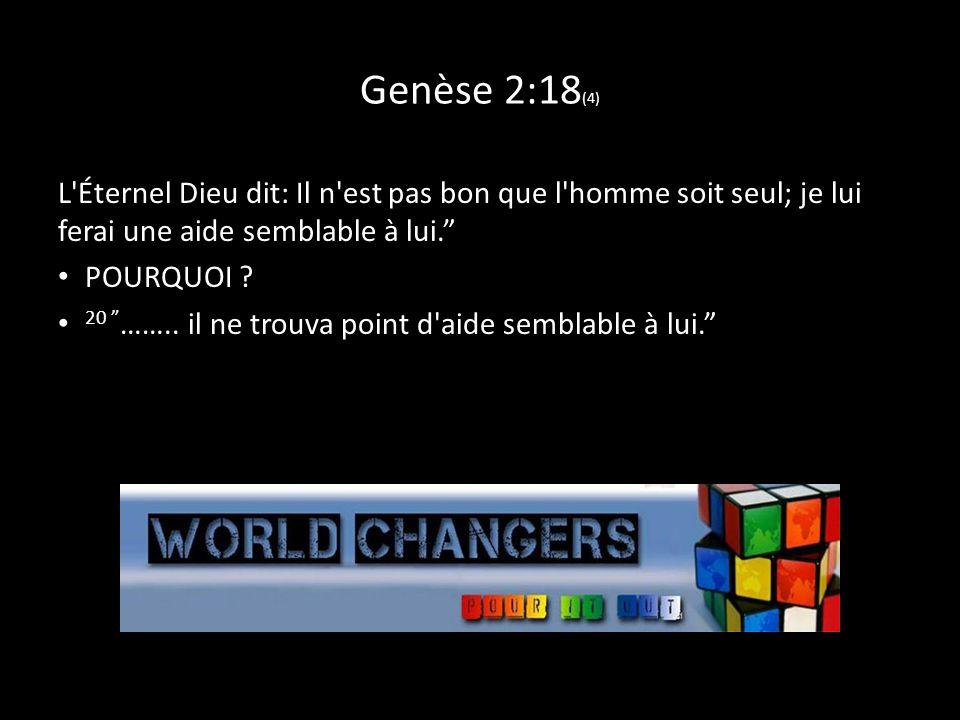 Genèse 2:18 (4) L'Éternel Dieu dit: Il n'est pas bon que l'homme soit seul; je lui ferai une aide semblable à lui. POURQUOI ? 20 …….. il ne trouva poi