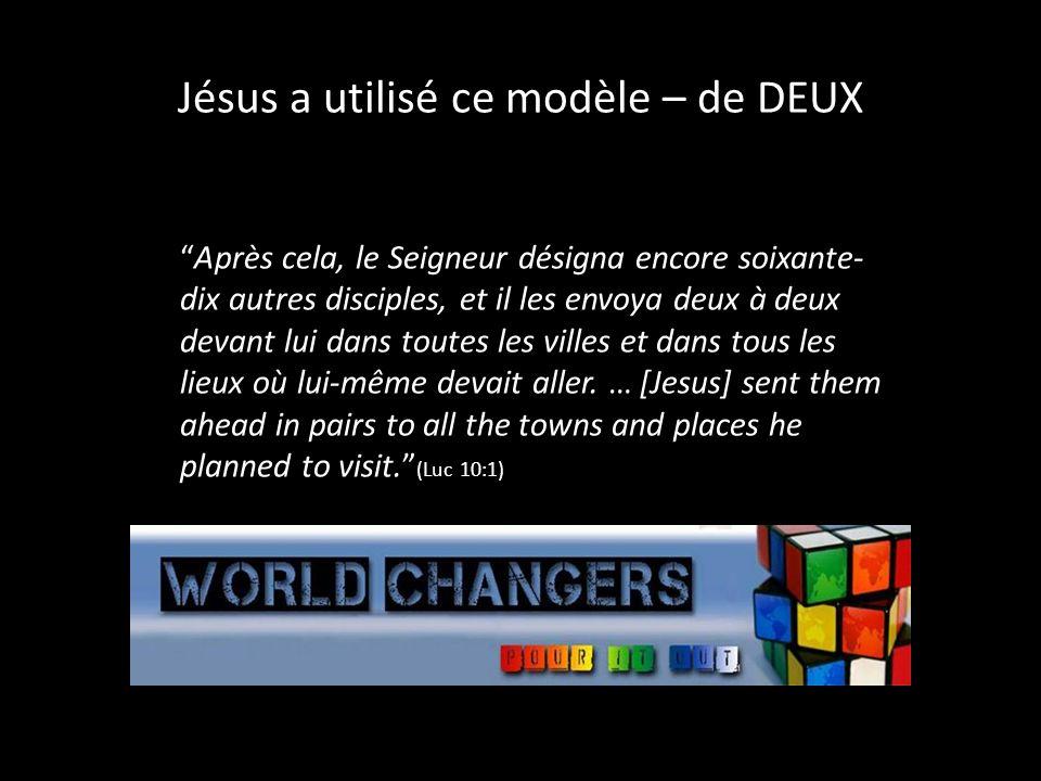 Jésus a utilisé ce modèle – de DEUX Après cela, le Seigneur désigna encore soixante- dix autres disciples, et il les envoya deux à deux devant lui dans toutes les villes et dans tous les lieux où lui-même devait aller.