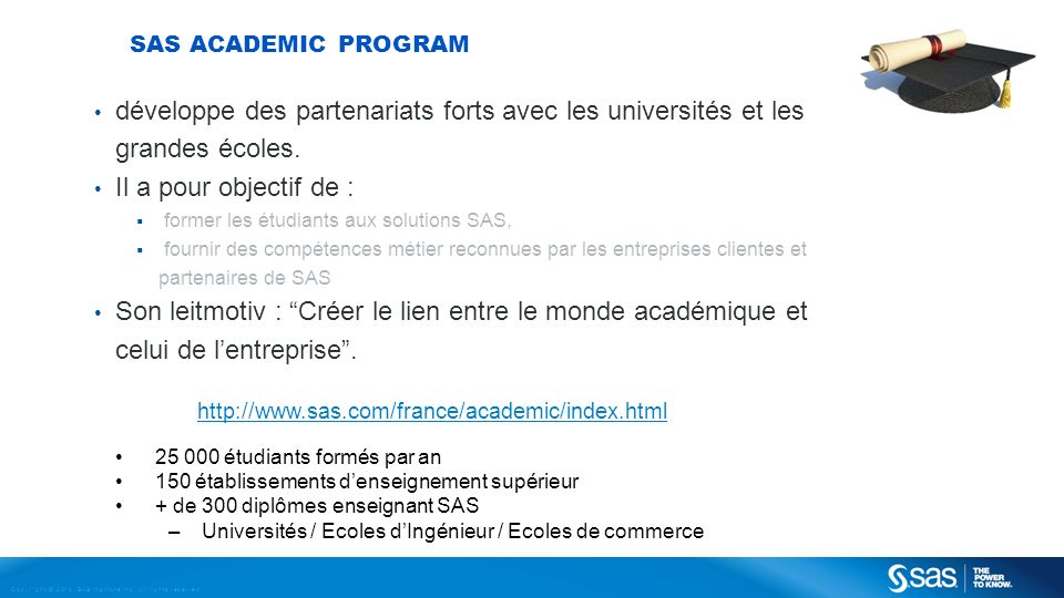 Copyright © 2013, SAS Institute Inc. All rights reserved. SAS ACADEMIC PROGRAM développe des partenariats forts avec les universités et les grandes éc