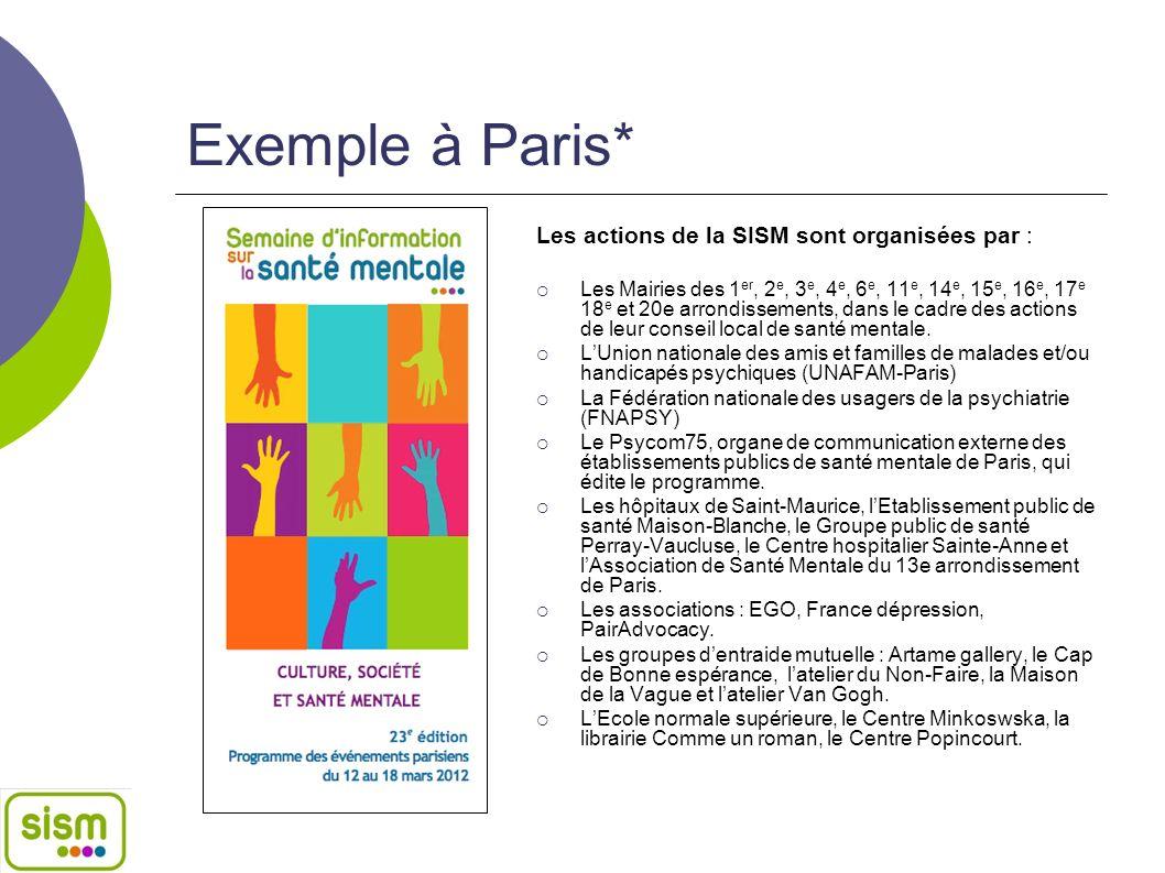 Exemple à Paris* Les actions de la SISM sont organisées par : Les Mairies des 1 er, 2 e, 3 e, 4 e, 6 e, 11 e, 14 e, 15 e, 16 e, 17 e 18 e et 20e arron