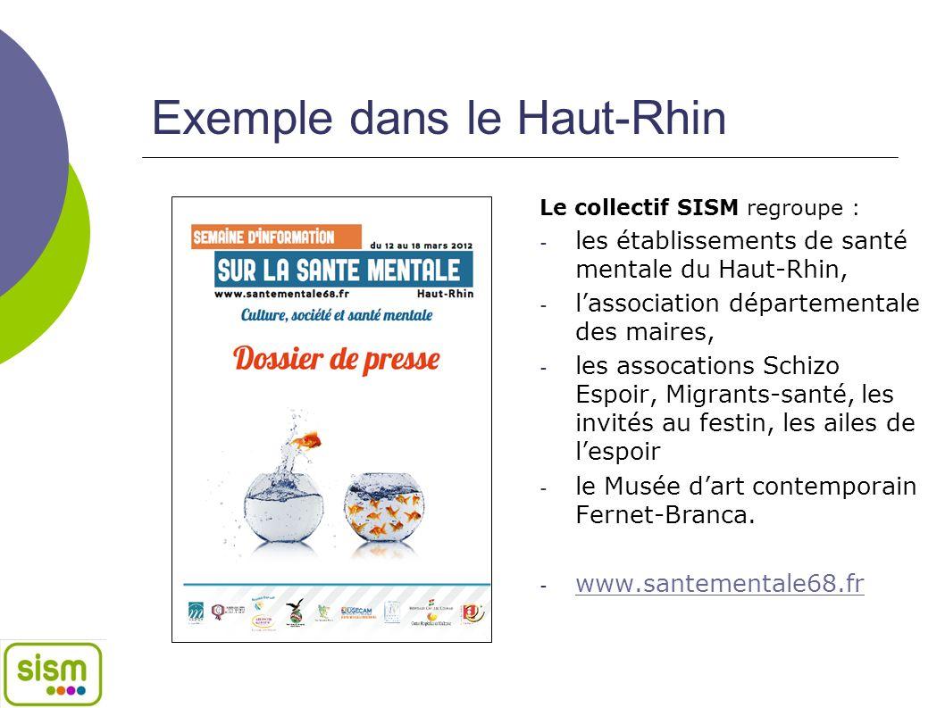 Exemple dans le Haut-Rhin Le collectif SISM regroupe : - les établissements de santé mentale du Haut-Rhin, - lassociation départementale des maires, -