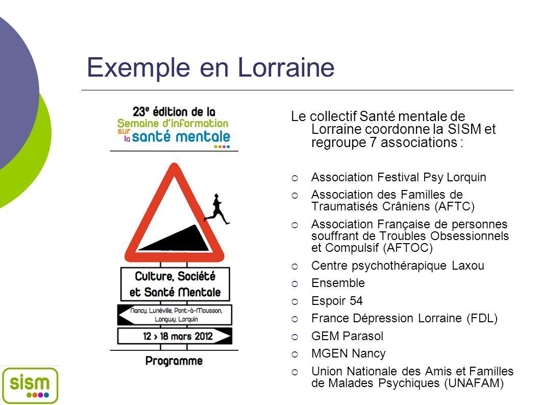 Exemple en Lorraine Le collectif Santé mentale de Lorraine coordonne la SISM et regroupe 7 associations : Association Festival Psy Lorquin Association