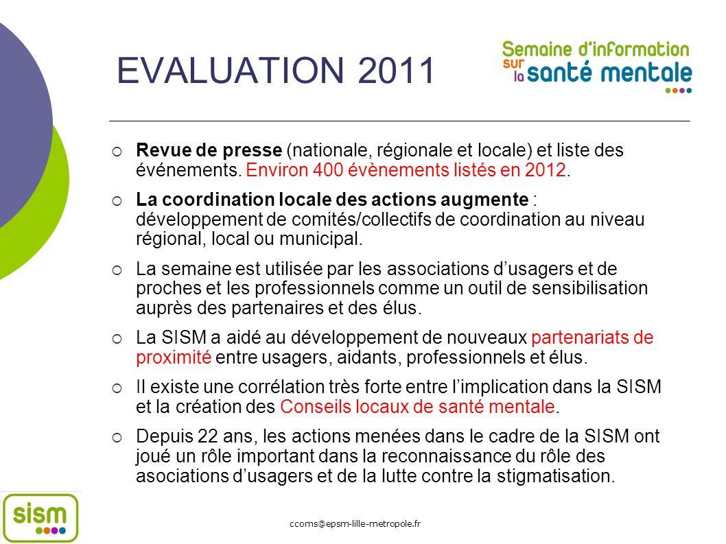EVALUATION 2011 Revue de presse (nationale, régionale et locale) et liste des événements. Environ 400 évènements listés en 2012. La coordination local