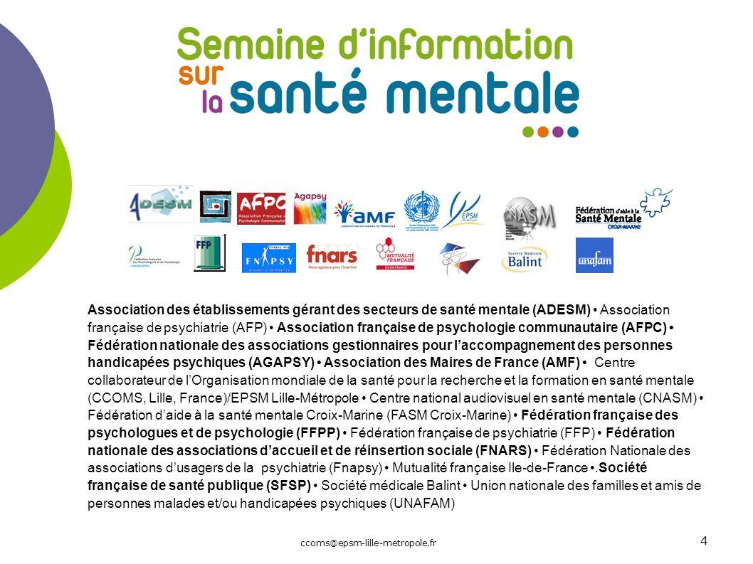 Association des établissements gérant des secteurs de santé mentale (ADESM) Association française de psychiatrie (AFP) Association française de psycho