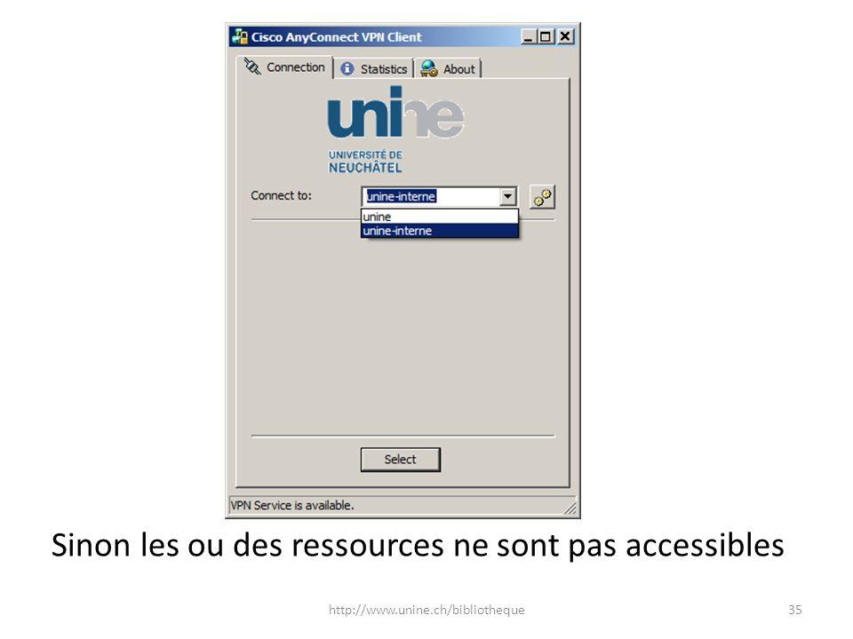 P Sinon les ou des ressources ne sont pas accessibles 35http://www.unine.ch/bibliotheque