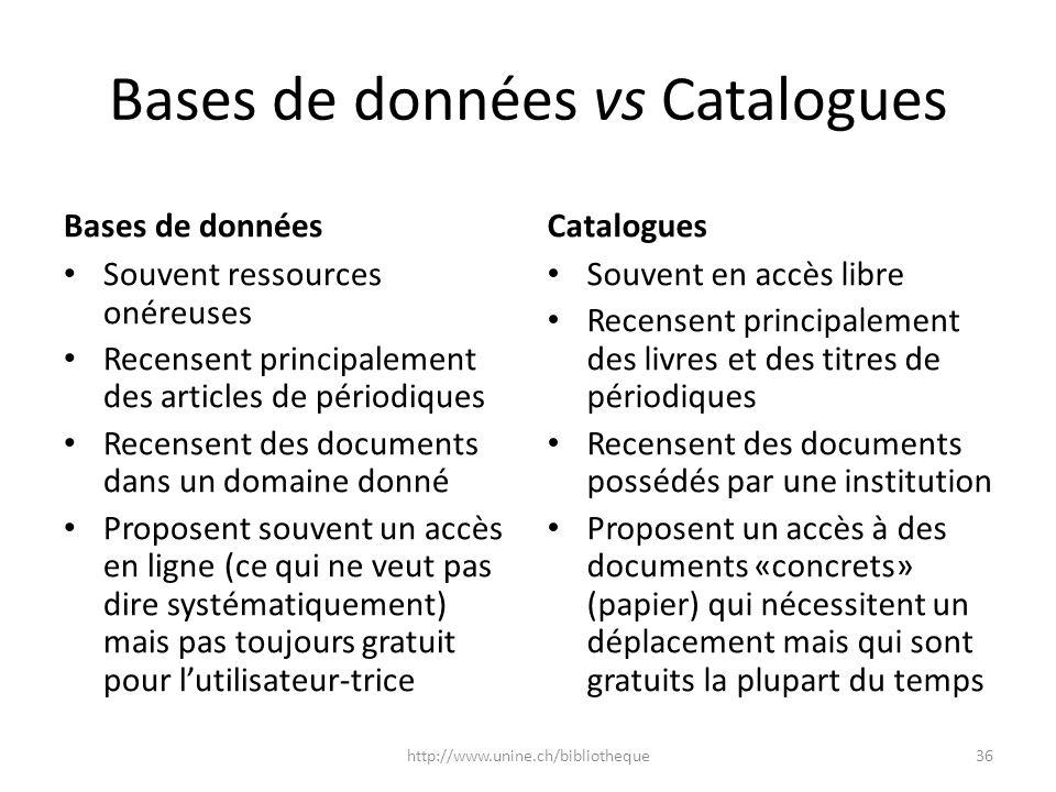 Bases de données vs Catalogues Bases de données Souvent ressources onéreuses Recensent principalement des articles de périodiques Recensent des docume