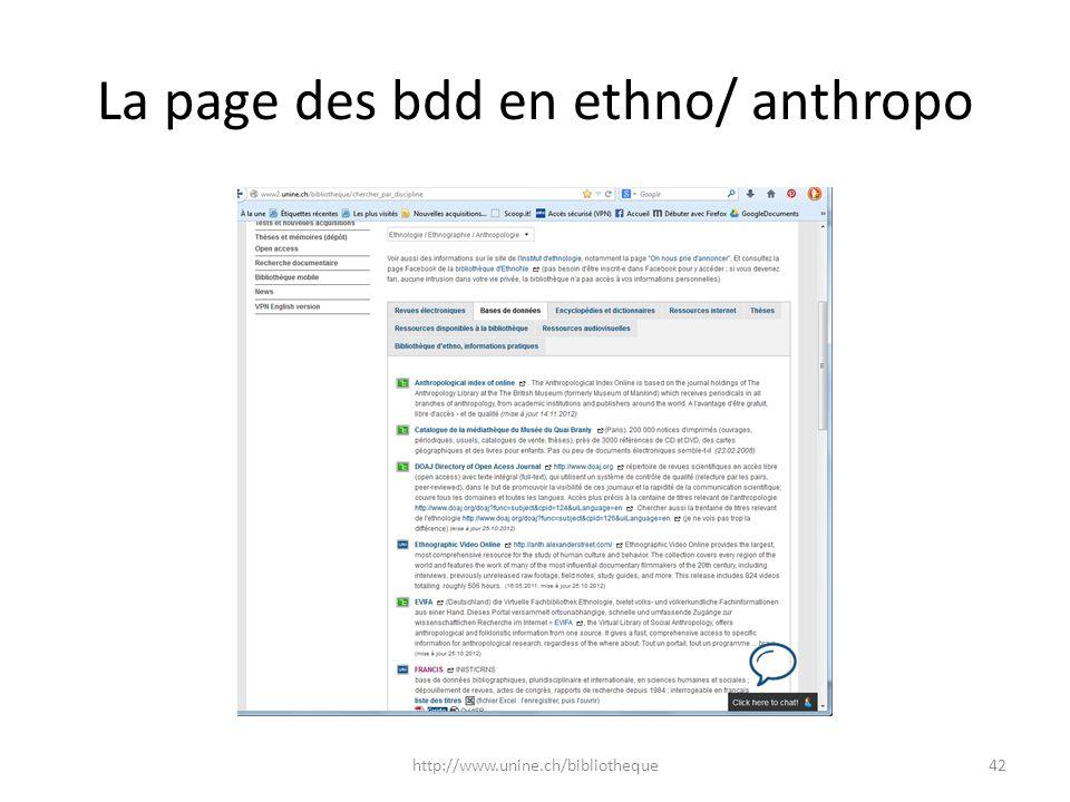 La page des bdd en ethno/ anthropo http://www.unine.ch/bibliotheque42