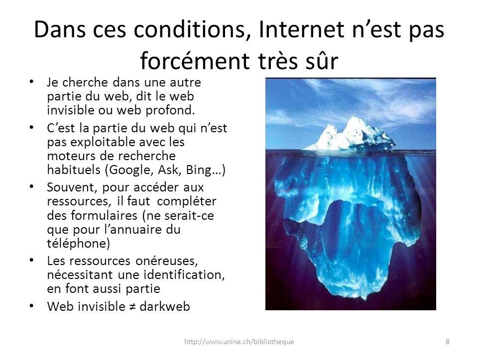 Dans ces conditions, Internet nest pas forcément très sûr Je cherche dans une autre partie du web, dit le web invisible ou web profond. Cest la partie