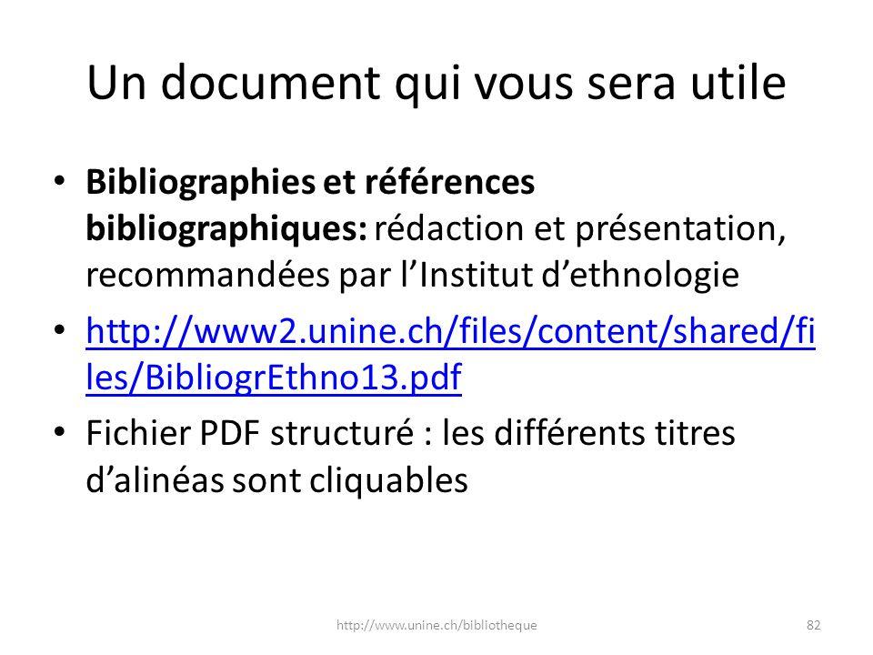 Un document qui vous sera utile Bibliographies et références bibliographiques: rédaction et présentation, recommandées par lInstitut dethnologie http: