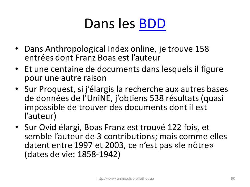Dans les BDDBDD Dans Anthropological Index online, je trouve 158 entrées dont Franz Boas est lauteur Et une centaine de documents dans lesquels il fig