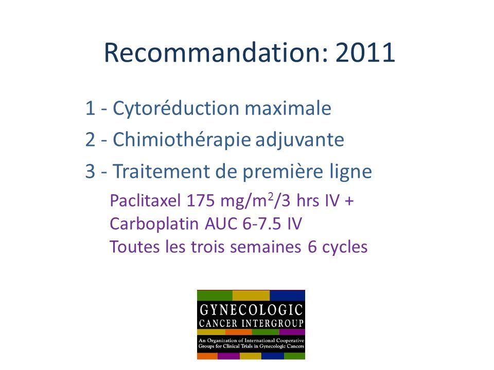 Recommandation: 2011 1 - Cytoréduction maximale 2 - Chimiothérapie adjuvante 3 - Traitement de première ligne Paclitaxel 175 mg/m 2 /3 hrs IV + Carbop