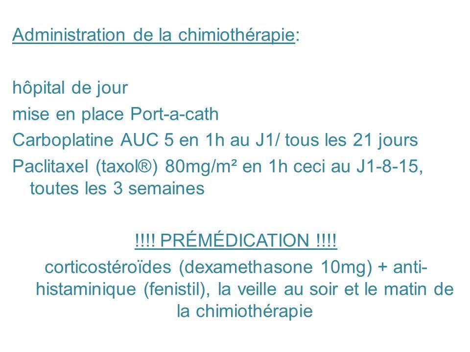 Administration de la chimiothérapie: hôpital de jour mise en place Port-a-cath Carboplatine AUC 5 en 1h au J1/ tous les 21 jours Paclitaxel (taxol®) 8