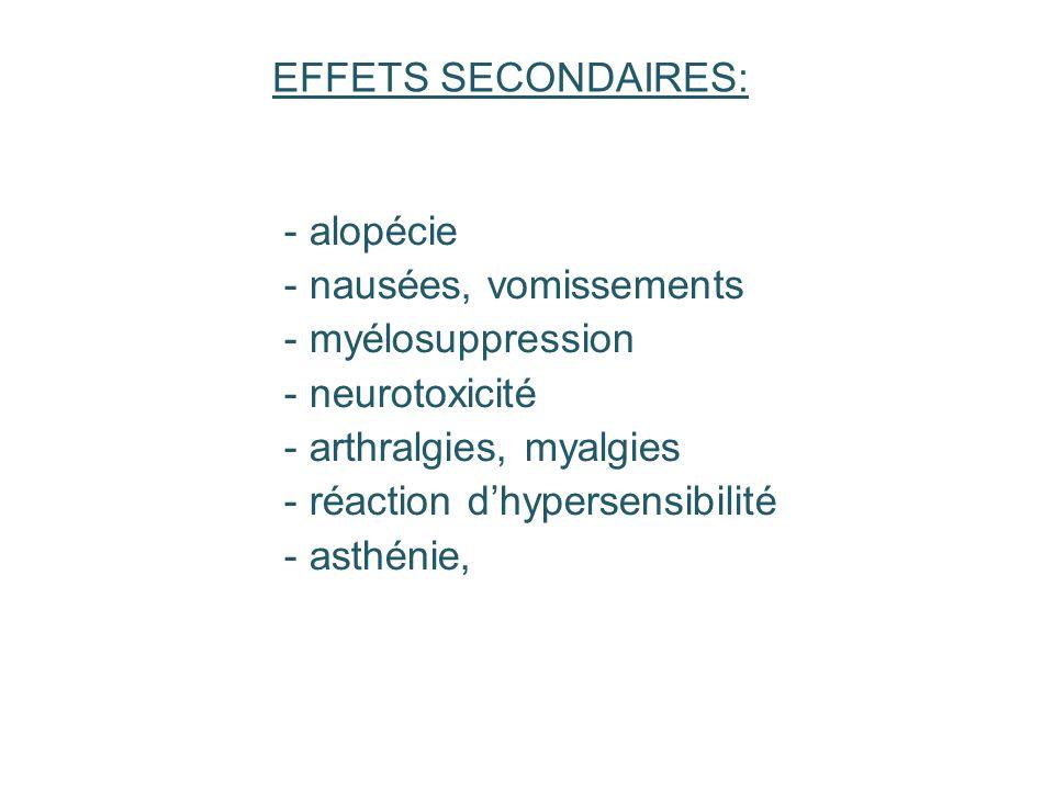 - alopécie - nausées, vomissements - myélosuppression - neurotoxicité - arthralgies, myalgies - réaction dhypersensibilité - asthénie, EFFETS SECONDAI