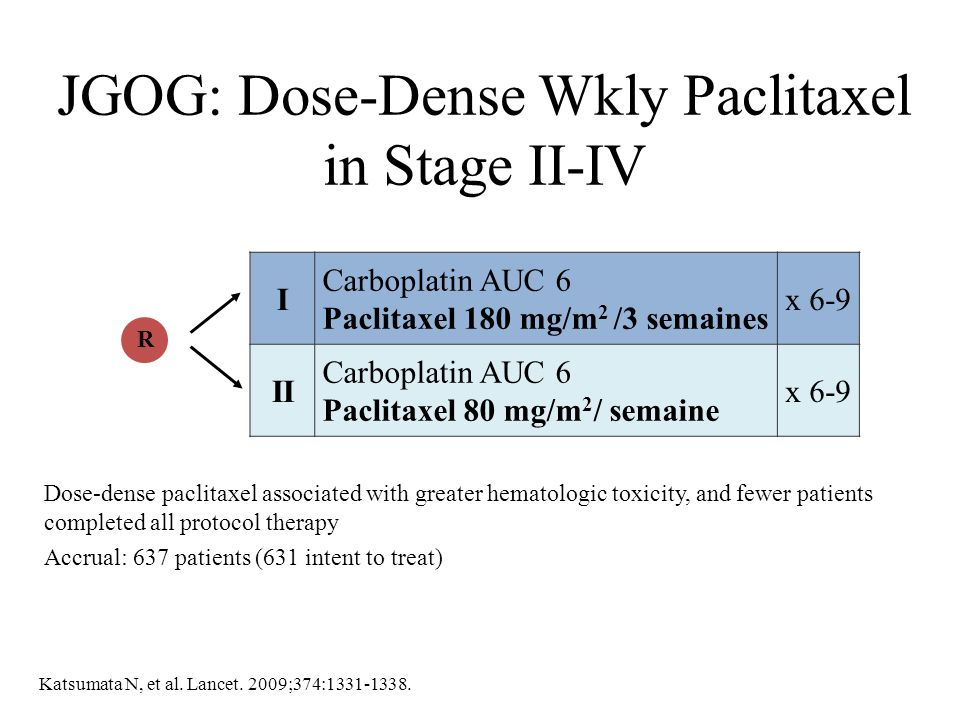 JGOG: Dose-Dense Wkly Paclitaxel in Stage II-IV Dose-dense paclitaxel associated with greater hematologic toxicity, and fewer patients completed all p