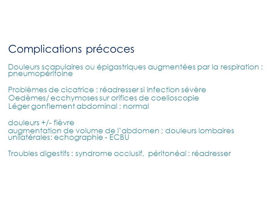 Complications précoces Douleurs scapulaires ou épigastriques augmentées par la respiration : pneumopéritoine Problèmes de cicatrice : réadresser si in