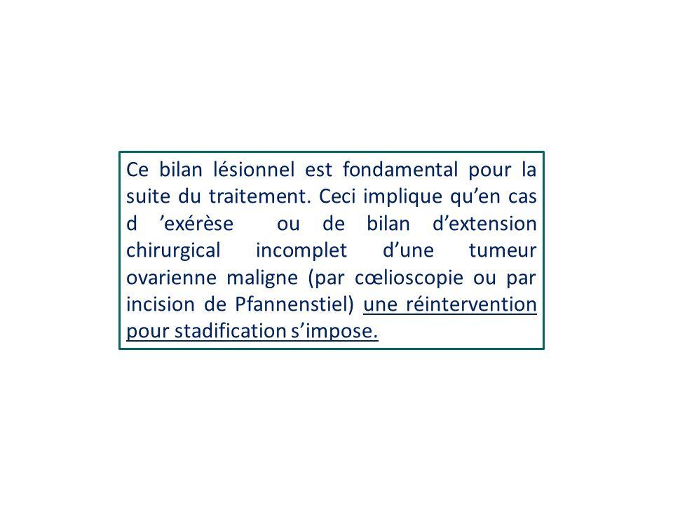 Ce bilan lésionnel est fondamental pour la suite du traitement. Ceci implique quen cas d exérèse ou de bilan dextension chirurgical incomplet dune tum