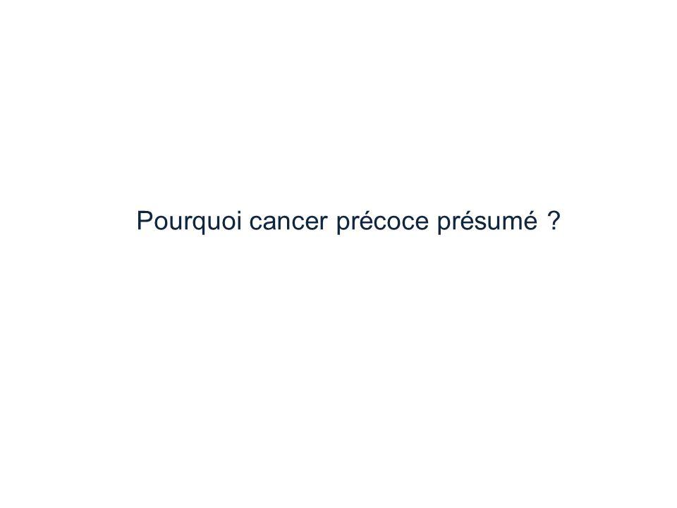 Pourquoi cancer précoce présumé ?