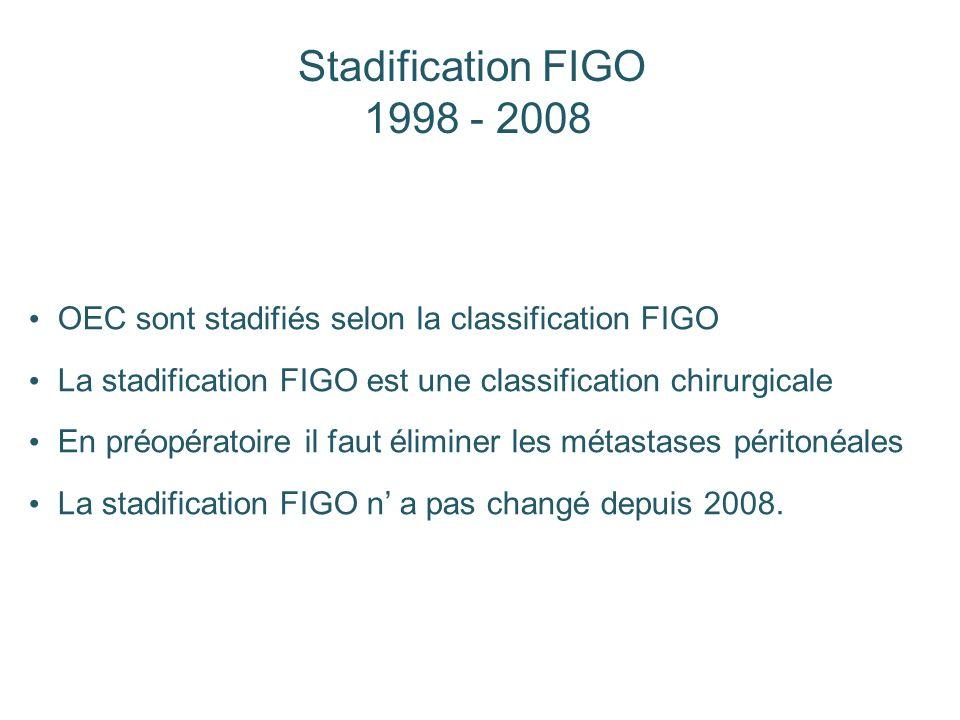 OEC sont stadifiés selon la classification FIGO La stadification FIGO est une classification chirurgicale En préopératoire il faut éliminer les métast