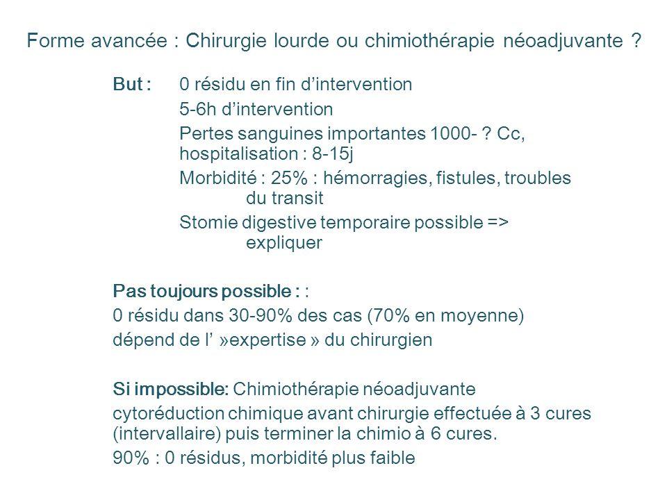 Forme avancée : Chirurgie lourde ou chimiothérapie néoadjuvante ? But : 0 résidu en fin dintervention 5-6h dintervention Pertes sanguines importantes